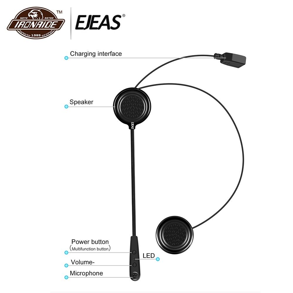 EJEAS Motorcycle Bluetooth Intercom Helmet Bluetooth Headset Earphone Helmet Bluetooth Headphones Wireless Intercom Moto