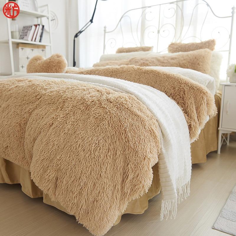 US $84 74 46% OFF|Winter Bedding set Long hair Cashmere sheet  pillowcase&duvet cover set Camel Fleece thinken warm bedcloth ruffles bed  linen sets-in