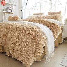 Зимний комплект постельного белья с длинными волосами, кашемировая простыня, наволочка и пододеяльник, комплект из верблюжьего флиса, теплая постельное белье с оборками, комплекты постельного белья