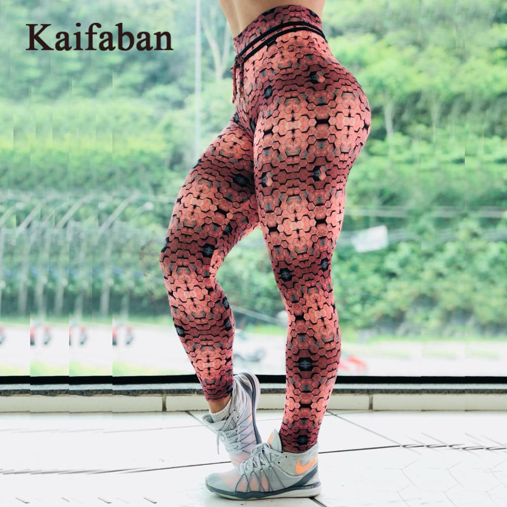 Women High Waist Striped Geometric Print Yoga Pants Leggings Fitness 2019 Sport Workout Gym Running Sweatpants Tights Sportswear(China)