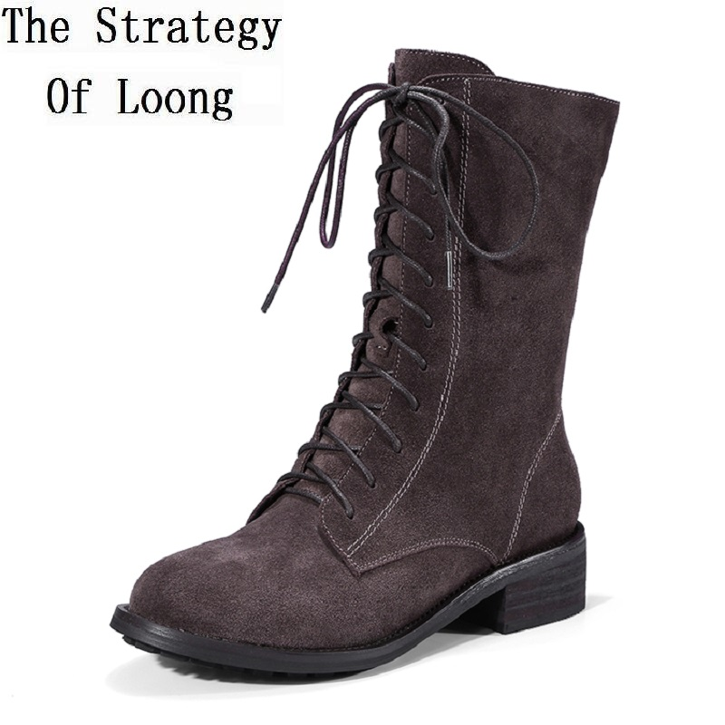 Women Genuine Leather Vintage High Top Lace Up Spring Autumn Low Heels Shoes Lady Winter Restore Mid Calf Riding Boots 20171215 british design mens casual mid calf martin punk motorcycle high boots rivets spring autumn genuine leather shoes lace up zapatos