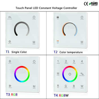 T1/T2/T3/T4 2.4G لمس الحائط لوحة LED الجهد المستمر تحكم للون واحد /درجة حرارة اللون/RGB/RGBW led قطاع