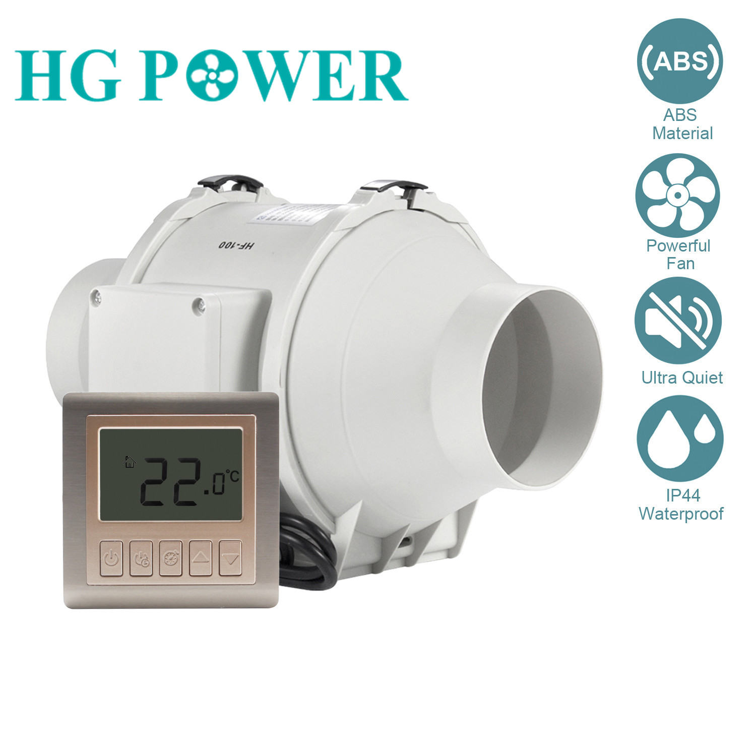 4 Inch Timer Extractor Inline Duct Fan with Smart Wired Switch Suitable for Indoor Exhaust Ventilation