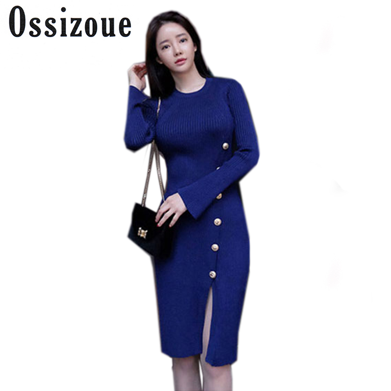 2017 Autumn Slit Slim Bodycon Sheath Midi Sweater Dress Women Knitted Cloth Full Sleeve Solid Knee-Length Sexy Going Out Dresses