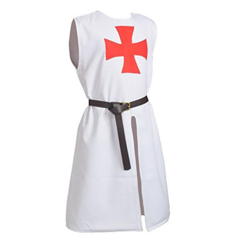 Halloween Men's Cosplay Cloak Medieval Crusaders Knight Hooded Cloak Sleeveless Jacket Pope Warrior Knight Costume White