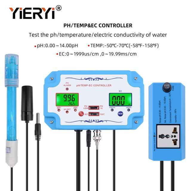 Yieryi 3 ב 1 pH/EC/טמפ מים באיכות גלאי pH בקר ממסר תקע Repleaceable אלקטרודה BNC סוג בדיקה מים Tester