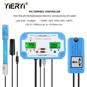 yieryi 3 in 1 pH/EC/TEMP Water Quality Detector pH Controller Relay Plug Repleaceable Electrode BNC Type Probe Water Tester free shipping digital type electrode 485 communication 4 20ma output ph sensor online ph probe aquiculture