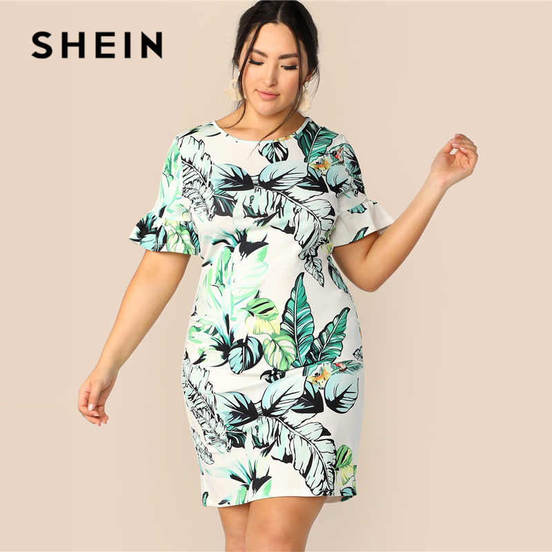SHEIN Plus Size Multicolor Bell Sleeve Tropical Print Fitted Dress 2019 Women Summer Boho Flounce Sleeve Round Neck Midi Dresses