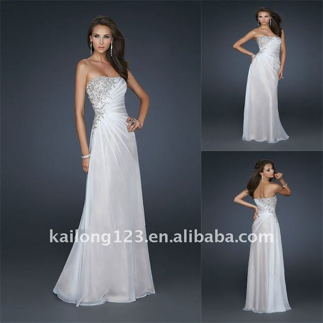 Glamorous Strapless A Line Floor Length Silver Beaded White Chiffon Evening Dresses