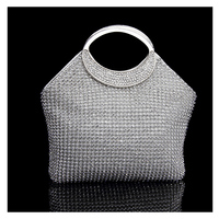 Silver Handbags Women Famous Brands For Wedding Party Evening Bags Small Purse Full Rhinestones Bags Carteira