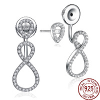 Factory Price 100 Real 925 Sterling Silver Infinity Shape Zirconia Stud Earrings Female Double White Crystal