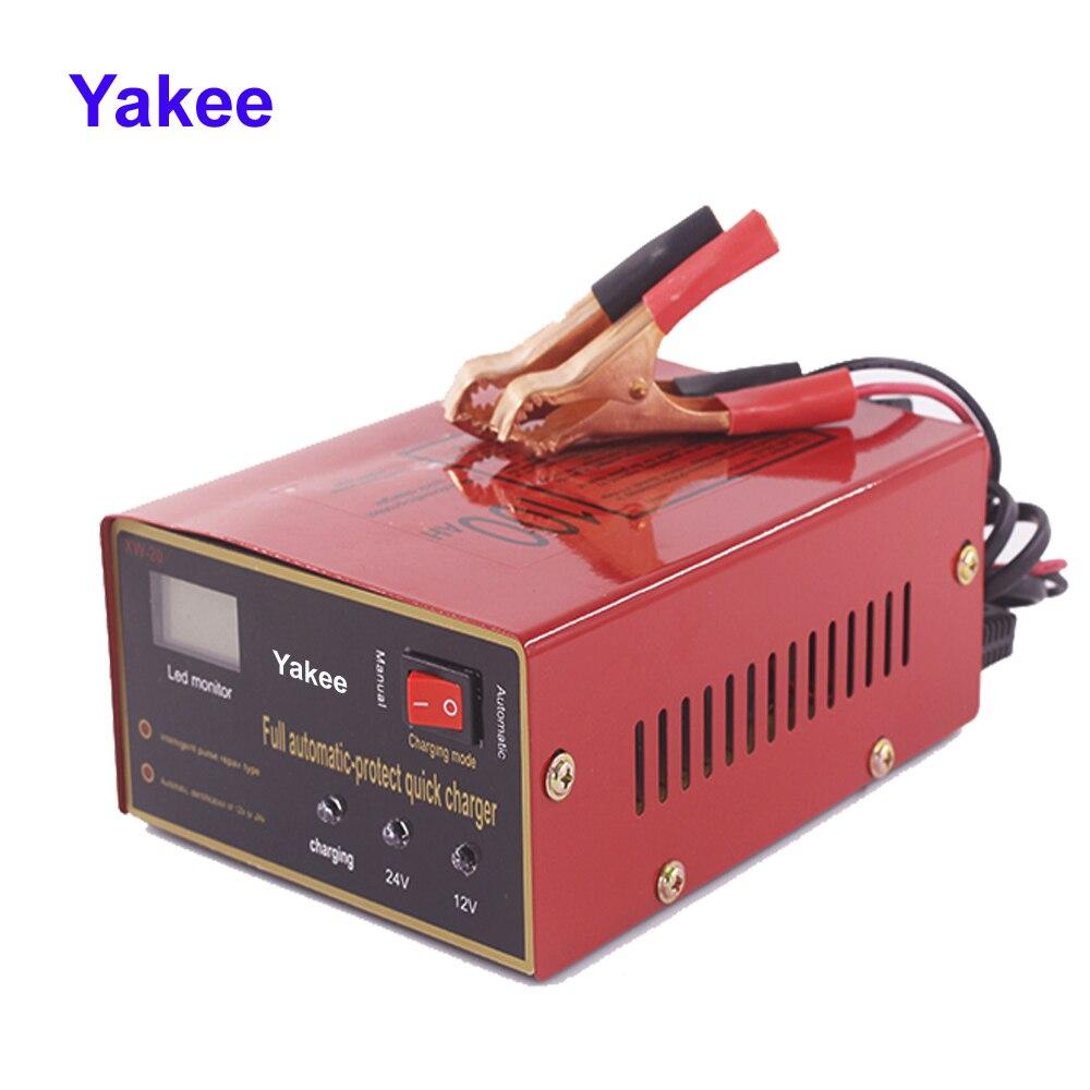 Yakee Универсальный Автомобильный Мотоциклетные батареи Зарядное устройство 12 В 24 В автоматической идентификации свинцово-кислотная Батаре...