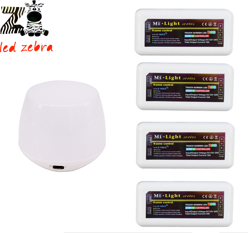 2.4g mi.light wifi ibox led controller by app ios android dc 5v/500ma+4pcs 4-zone rf rgb led controller for rgb led strip new mi light wifi ibox2 controller dc5v compatible with ios andriod system wireless app control for cw ww rgb strip bulb