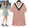 2016 Summer New Plus Size Women Dress Stitching Folds Hem Loose Short-sleeved V-neck Sexy Mini Pink Dress XXXXXL
