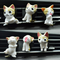 Car perfume creative outlet new decorative accessories 6 sets of kitten cartoon gifts auto perfume clip car air freshener