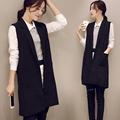 2016 Spring And Autumn Sleeveless All Match Vest Female Basic Suit Jacket Waistcoat Office Lady Medium Long Weskit