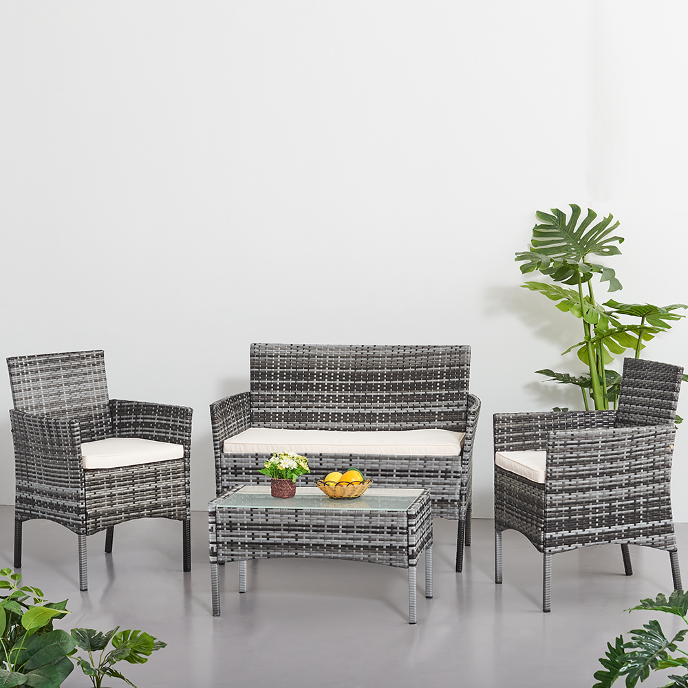 Panana Rattan Sofa Chair Table Set Of 4 Hot Sale Wicker Garden Furniture Coffee Table Rattan Sofa Chair Spain Warehouse Stock