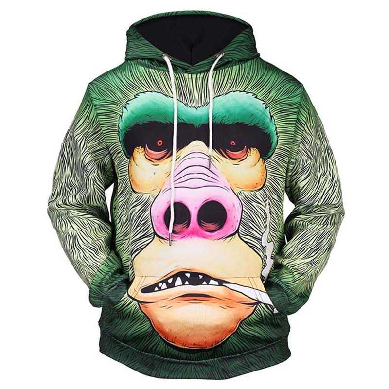 Men's Clothing Black 3d Monkey Print Hoodie Sweatshirt Men Women 2018 Autumn Winter New Casual Hoodies Men Hip Hop Streetwear Hoody Tracksuit