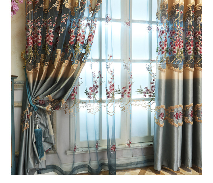 Hollow Carved Jacquard Luxury Living Room Curtains Kitchen