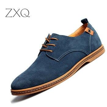 2018 модная мужская повседневная обувь, новая весенняя мужская обувь на плоской подошве, мужские замшевые оксфорды на шнуровке, мужская кожан...