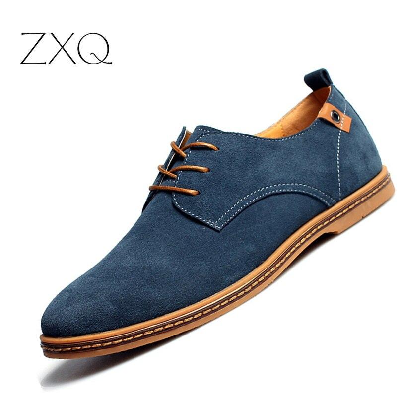 2018 moda hombres zapatos casual nueva primavera hombres pisos LACE up Suede oxfords cuero de los hombres Zapatillas Hombre tamaño 38-48