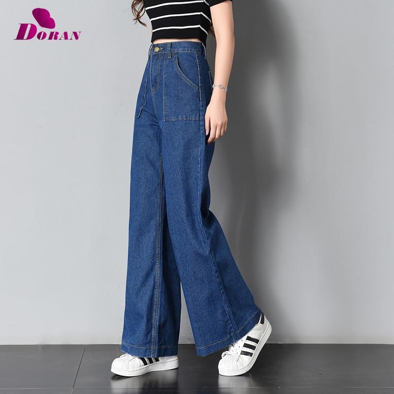 000b0856c82d5 Vintage Wide Leg Jeans Big Pockrt Loose Washed High Waist Denim Pants 2018  Long Jeans for Women Pantalon Femme Light Dark Blue
