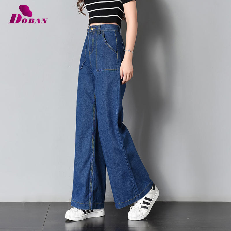 Vintage Wide Leg   Jeans   Big Pockrt Loose Washed High Waist Denim Pants 2018 Long   Jeans   for Women Pantalon Femme Light Dark Blue