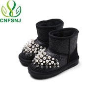 CNFSNJ 2019 New Winter Children Sequined Girls Plush Snow Boots Boys Casual Cotton Padded Shoes Warm Sneakers Rabbit Hair Ball