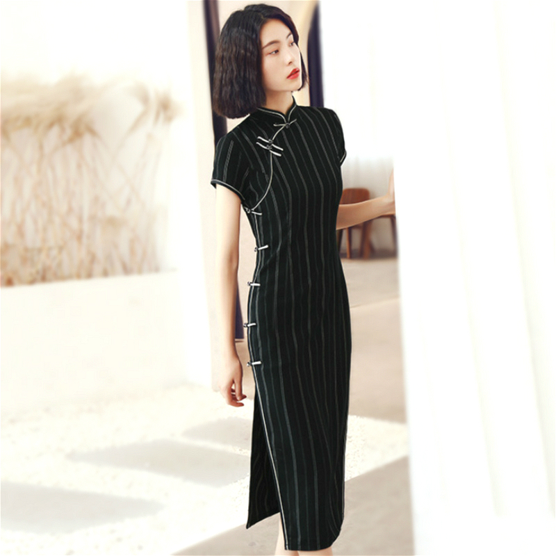 SHENG COCO Black Stripe Chinese Dresses Cheongsam Qipao Jacquard Cotton Classic Stripe Black Long Cheongsam Qipao Dress Women