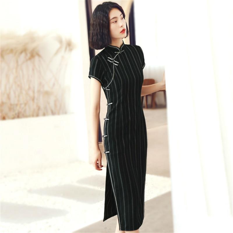 SHENG COCO Black Stripe Chinese Dresses Cheongsam Qipao Jacquard Cotton Classic Stripe Black Long Cheongsam Qipao Dress Women