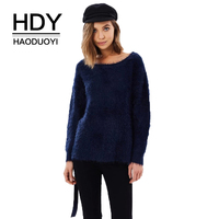 HDY Haoduoyi Brand 2018 Women Navy Blue Casual Sweater O Neck Long Sleeve Lace Up Back