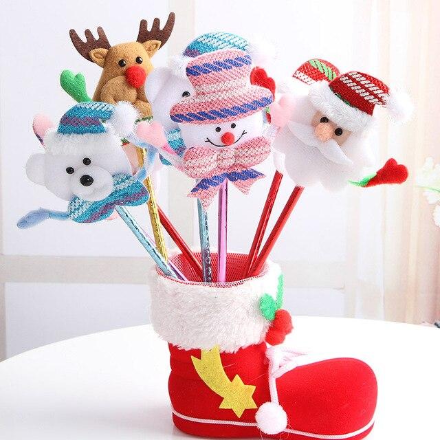 12PCS Santa caluse deer snowman Ball Pen Merry Christmas Gift  for children Birthday Party Favors Souvenirs Christmas Ornament
