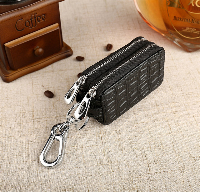 Uninnova Two Layers Car Key Holder Bag Mutifunction Housekeeper Key Case Zip Cowsplit Leather Keychain Organizer WHZQK 003