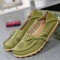 Изысканный Полые Дизайн Стили Женщины Обувь Из Натуральной Кожи Мокасины Мода Повседневная Женщины Квартиры Вождения Мокасины 20 Цвета Выберите