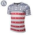 Estilo 2017 primavera/verão homens/mulheres clothing casual manga curta vermelho/branco listrado cinco-estrelas plus tamanho fino harajuku tee t-shirt