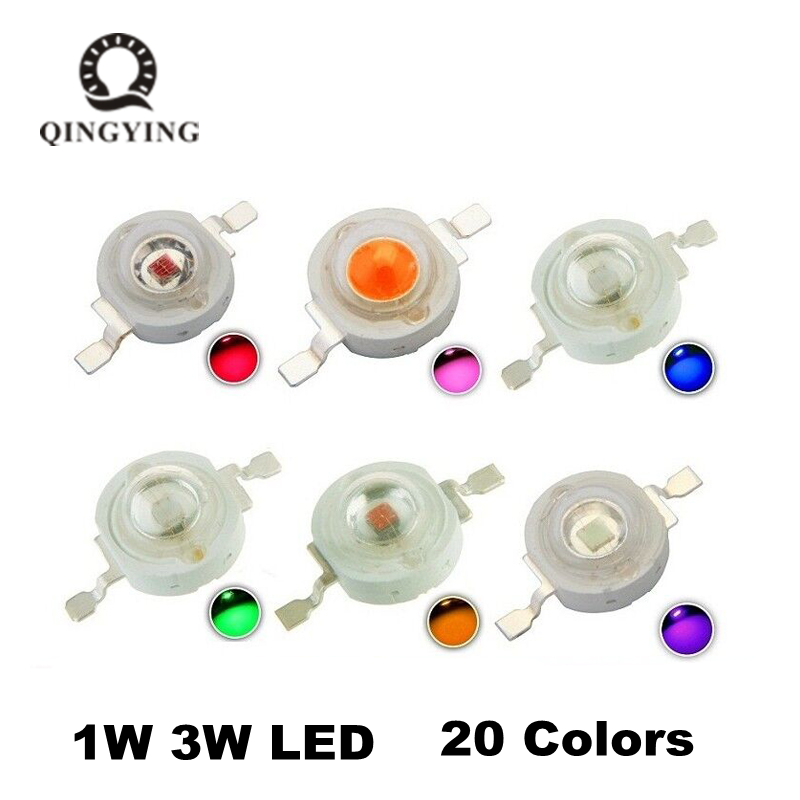 50pcs LED 1w 3w High Power LED Chip, RGB Red Green Blue Yellow Cold White Nature White Warm White Light Source