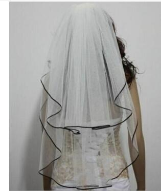 Bridal accessories 2-tier black ribbon edge wedding veil Fingertip length Veil Bride Vail  with comb