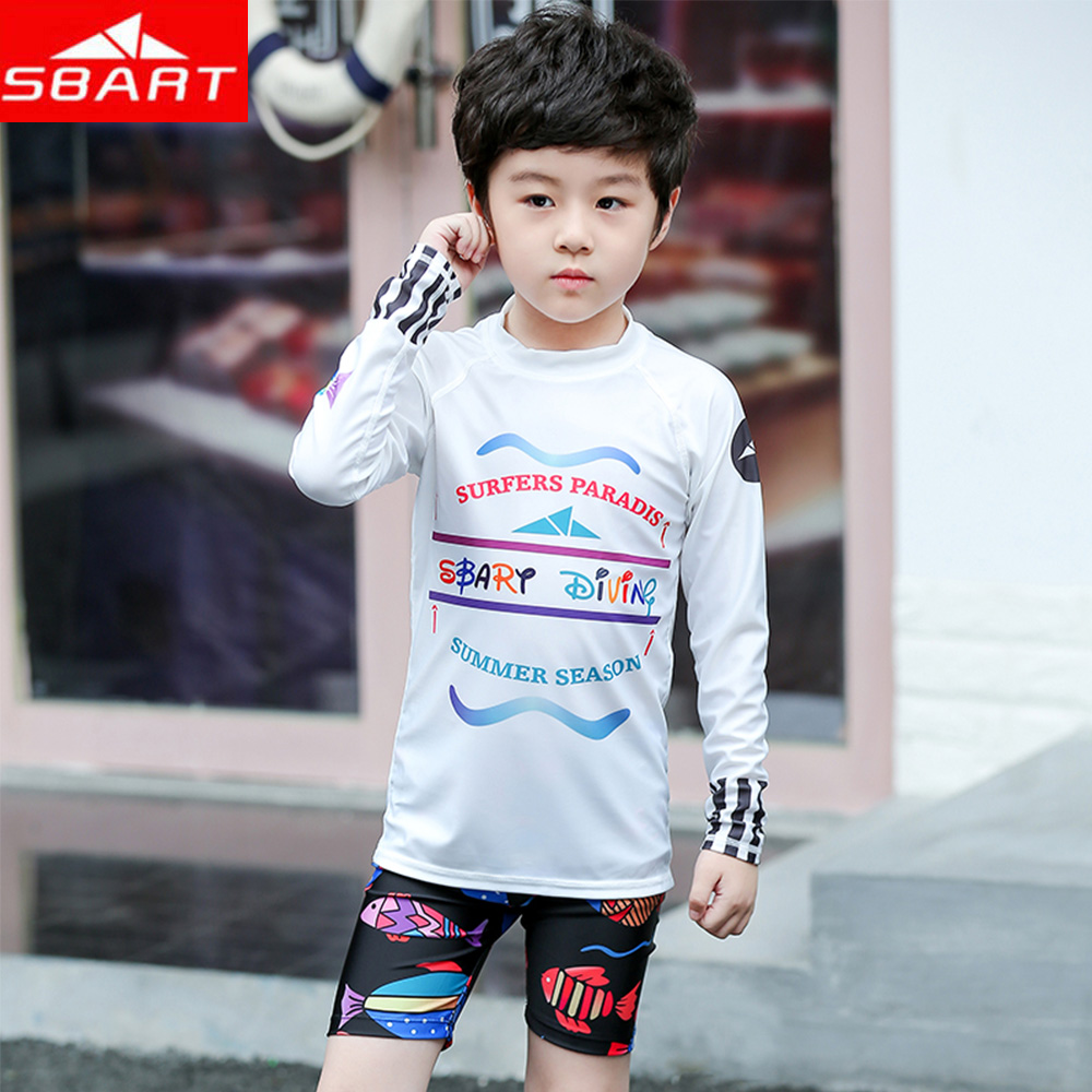 2019 Sale New Sbart Children's Summer Letter Printi Swimsuit Boy Split Beach Sunscreen Quick-drying Two-piece Top+shorts