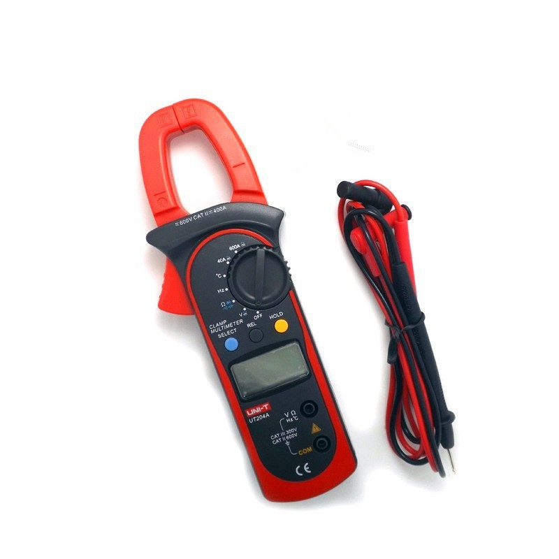 UNI-T UT204A  Digital Clamp Meter Voltage AC DC Temperature Capacitor 600A Current Diode Auto Range Multimeter  vc6056d digital ac dc clamp meter 600a refrigerant special