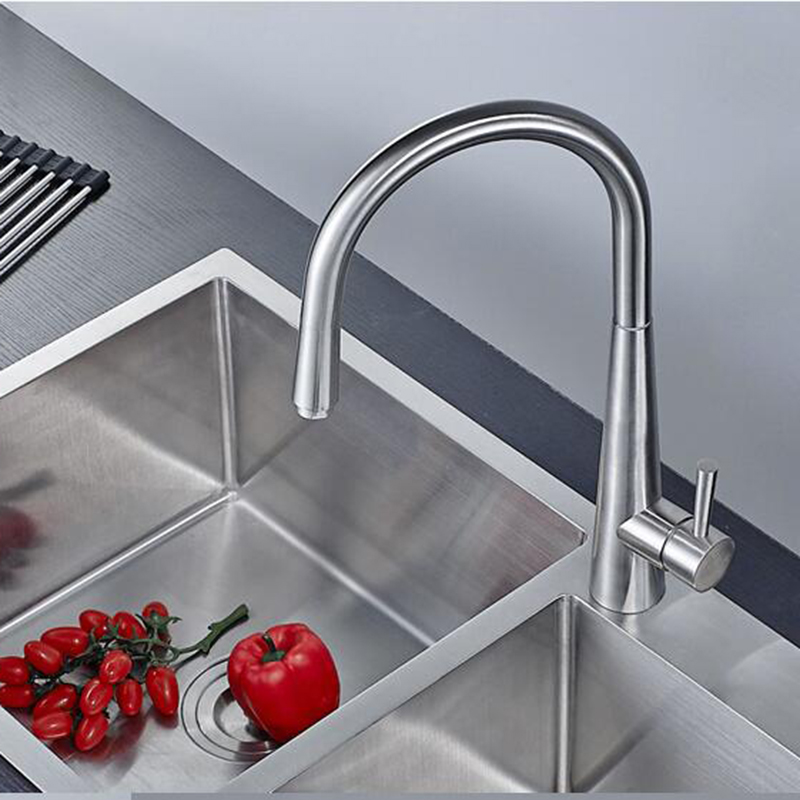 High-quality 304 stainless steel brushed kitchen faucet 360 degree rotary table wash basin faucet hot and cold water mixer tap super high quality 304 stainless steel hot and cold no lead brushed basin safe sink kitchen faucet with german technology