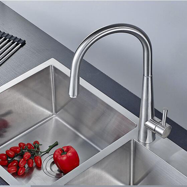 Attirant High Quality 304 Stainless Steel Brushed Kitchen Faucet 360 Degree Rotary  Table Wash Basin Faucet