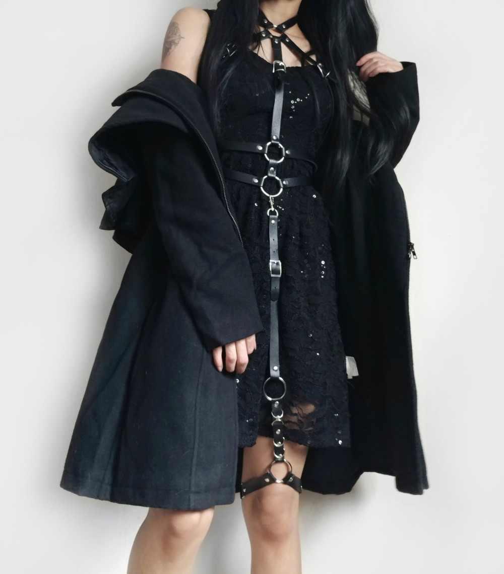 Cea. Dây Da Punk Garters Nữ Thời Trang Mới Bông Tai Kẹp Dây Đeo Đơn Kẹp Suspender Móc Chân Có Thể Điều Chỉnh Vòng Tay Mút