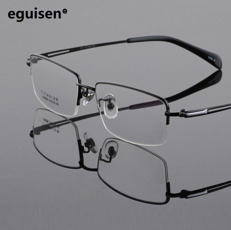 Largeur-145 Nouvelle mode titane pur ultra léger cadre demi cadre grand visage mâle monture de lunettes pour hommes lunettes oculos de grau