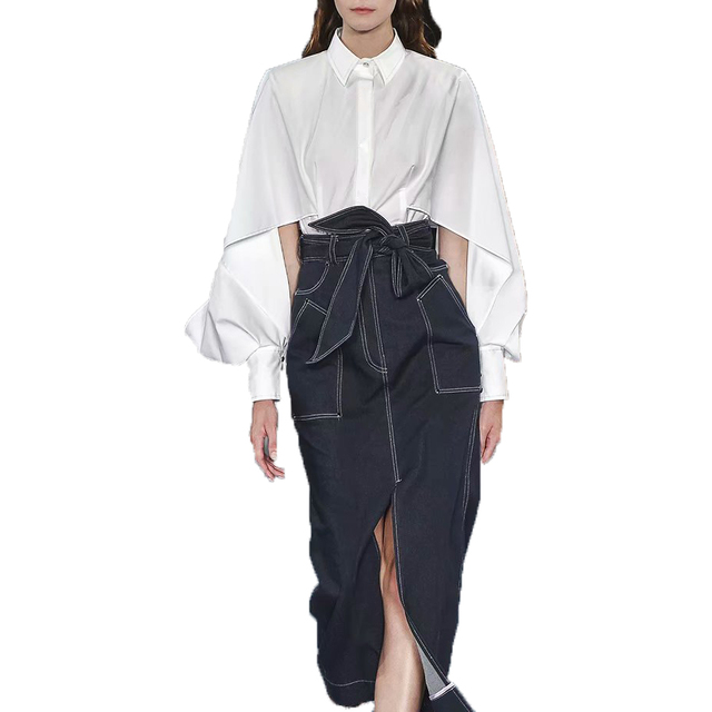 HIGH QUALITY New Fashion 2019 Summer Designer Runway Women's White Batwing Sleeve Blouse And Split Black Demin Long Skirt Sets