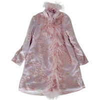 KENVY Brand fashion women's high end luxury winter elegant pink embroidered lace ostrich feather cheongsam jacket Coat