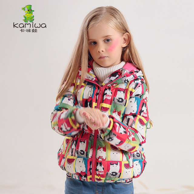 KAMIWA 2017 Cat Printing Girls Winter Coats And Jackets Kids Down Jacket Girls Clothes Parkas Children Baby Girls Clothing
