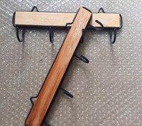 4 Hooks Rail Retro Mini Wood Key Hook Rack Vintage Wooden Metal Coat Clothing Hooks Organization