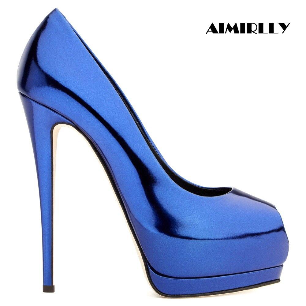Zapatos de mujer de Aimirlly Peep Toe tacones altos zapatos de plataforma Stilettos señoras de la noche de la boda de la fiesta de los zapatos Slip On-in Zapatos de tacón de mujer from zapatos    1