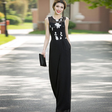Women Jumpsuit Party Chiffon Floral Elegant Black High Street Wide Leg Rompers Full Length Summer Jumpsuits Plus Size 3XL 4XL 2019 women summer jumpsuit party overalls rompers chiffon high street elegant gray color full length jumpsuits plus size 3xl 4xl