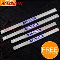 Free Shipping LED Stainless Steel Door Sill Scuff Plate For Volkswagen VW Touran 2011 2013